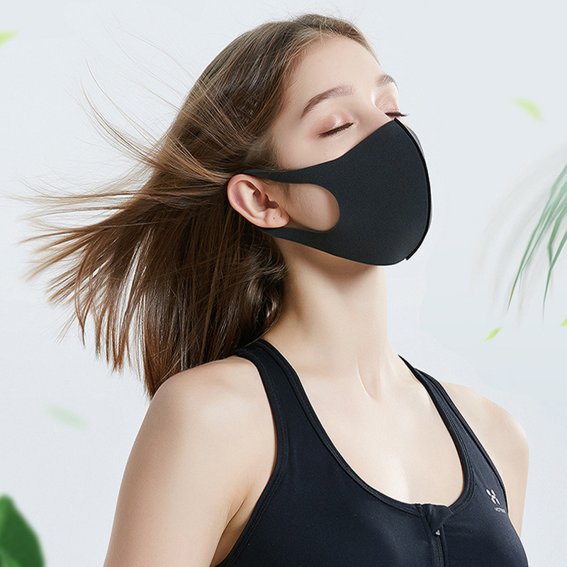 Retail packaging face mask ice silk designer protective Mouth Cover Dustproof kpop Reusable washable comfortable Cotton Black Mascherine
