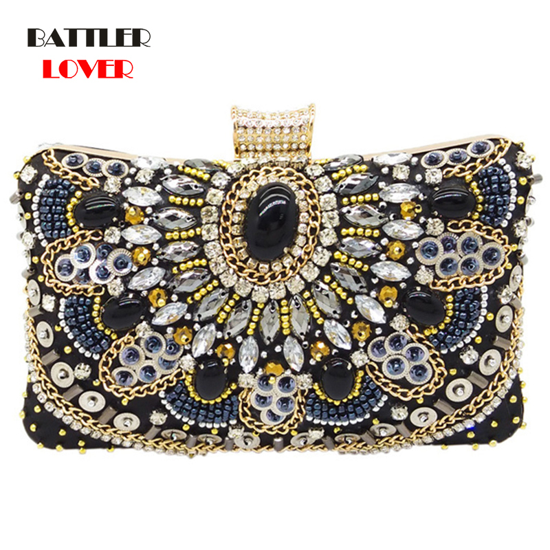 Bags for Women Vintage Womens Black Beaded Evening Clutch Bags Ladies Box Metal Clutches Wedding Cocktail Party Handbags Purses
