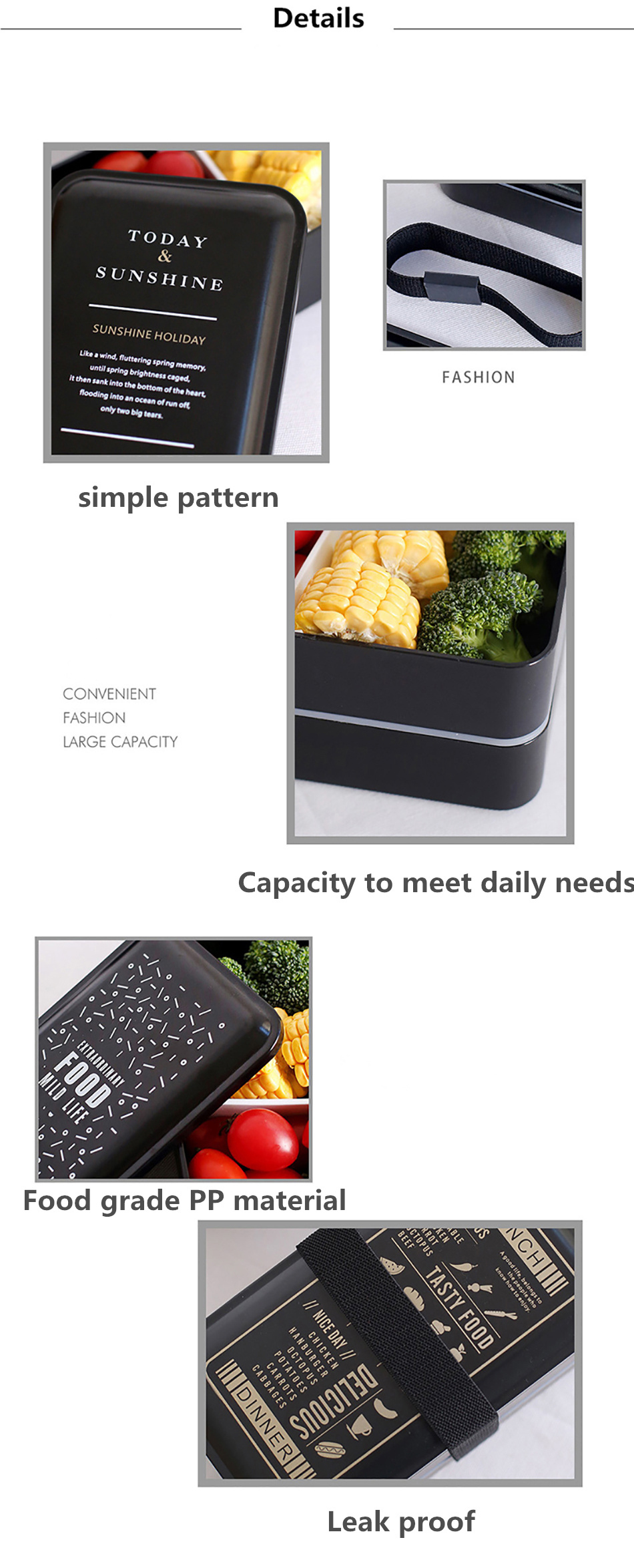ONEUP Lunchbox double-layer Portable Bento box Eco-friendly Food container with compartment Leakproof Microwavable BPA free 3
