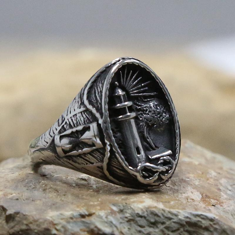 Cluster Rings Vintage Gothic Viking Lighthouse Ring 316L Stainless Steel Mens Nautical Signet Male Punk Biker Jewelry Gift Size 7-15