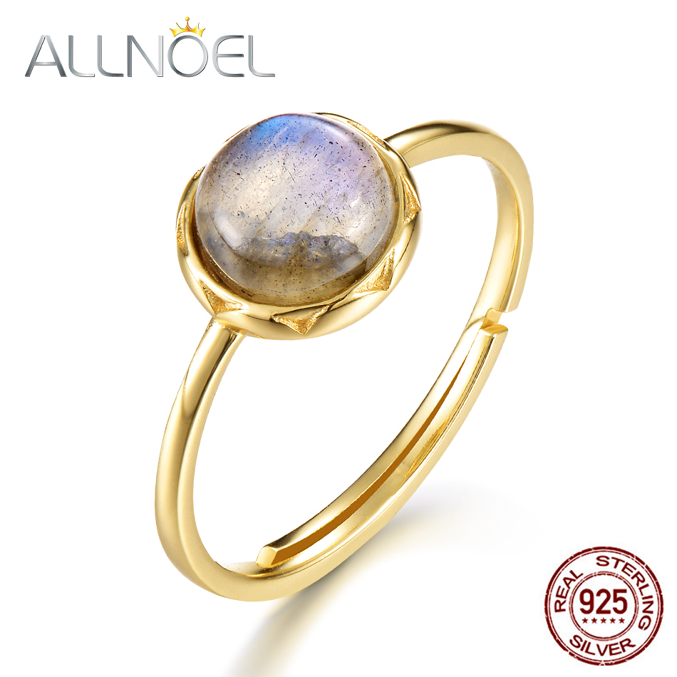 ALLNOEL Real 925 Sterling Silver Rings For Women 7mm Natural Labradorite Ring S925 Fine Jewelry For Women Gift On 2019 March 8 (2)