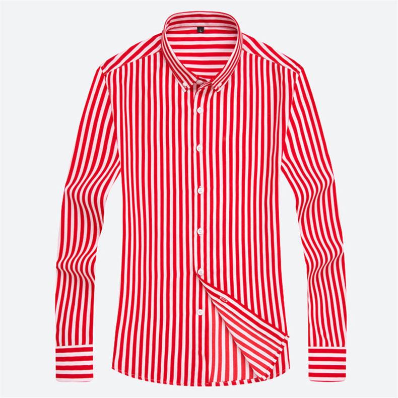 5XL Plus Large Size Striped Shirts Men Long Sleeve Casual Autumn Spring Classic Male Shirts Non-Iron Dress Shirts Man Muls Brand 14