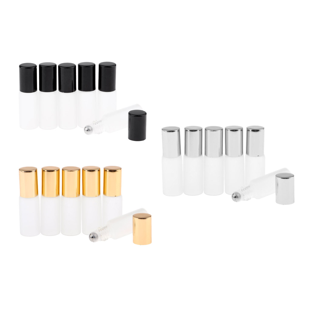 6x 5ml Empty Polished Glass Roller Bottle Roll On Cosmetic Perfume Container
