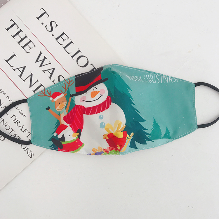 DHL Shipping Christmas Party Face Masks Reusable Washable Printed Cartoon Mouth Cover Women Windproof Mask Kimter-L773FA