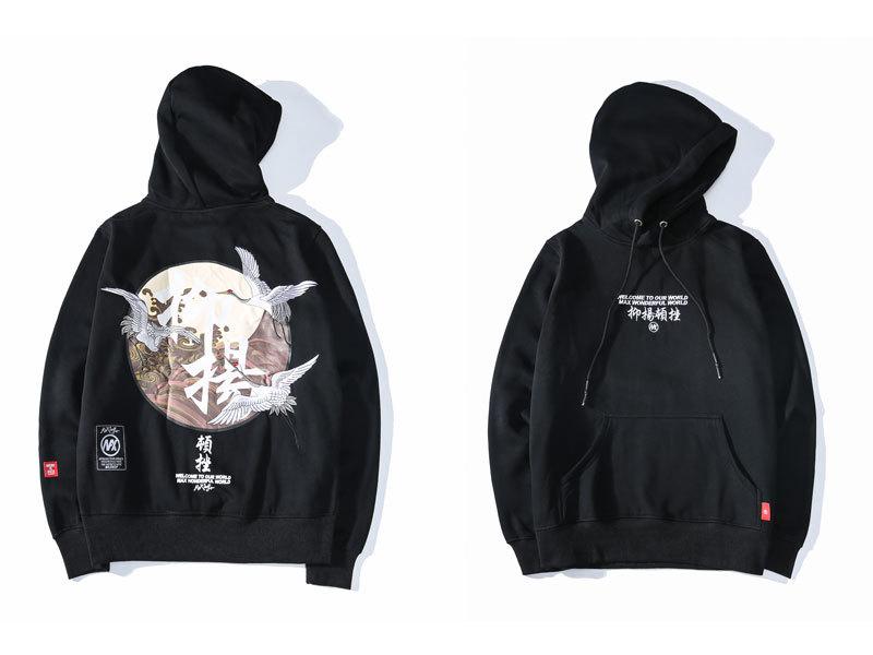 Embroidery Japanese Cranes Pullover Fleece Hoodies 5