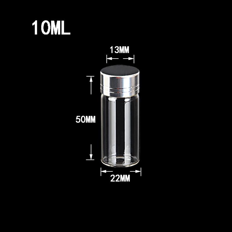 10ml Glass Bottles Screw Cap Silver Aluminium Lid Empty Glass Jars Vials Bottles Sealing up Mason Jars 10mla