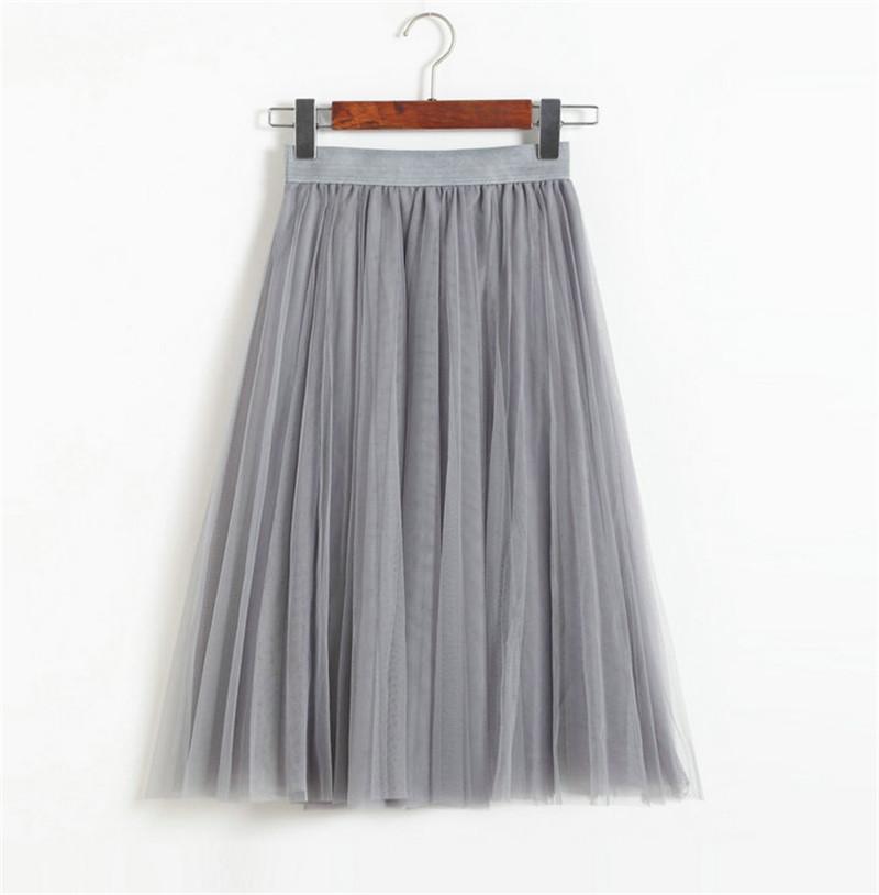 Vintage Women Tulle Skirt 2020 Autumn Elastic High Waist Mesh Skirts Long Pleated Tutu Skirt Female Jupe Longue JX8042 (26)