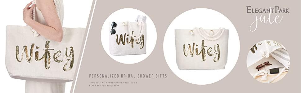 Wifey Wedding Bride Tote Bridal Shower Gift White Jumbo Shoulder Bag honeymoon beach tote bag