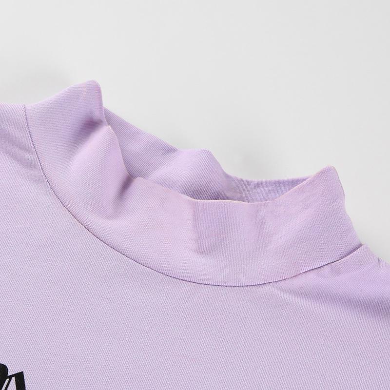 9Sweetown Harajuku Crop Top Long Sleeve Turtleneck T Shirt purple Korean fashion Style graphic tees Women Printed Kawaii Tshirt