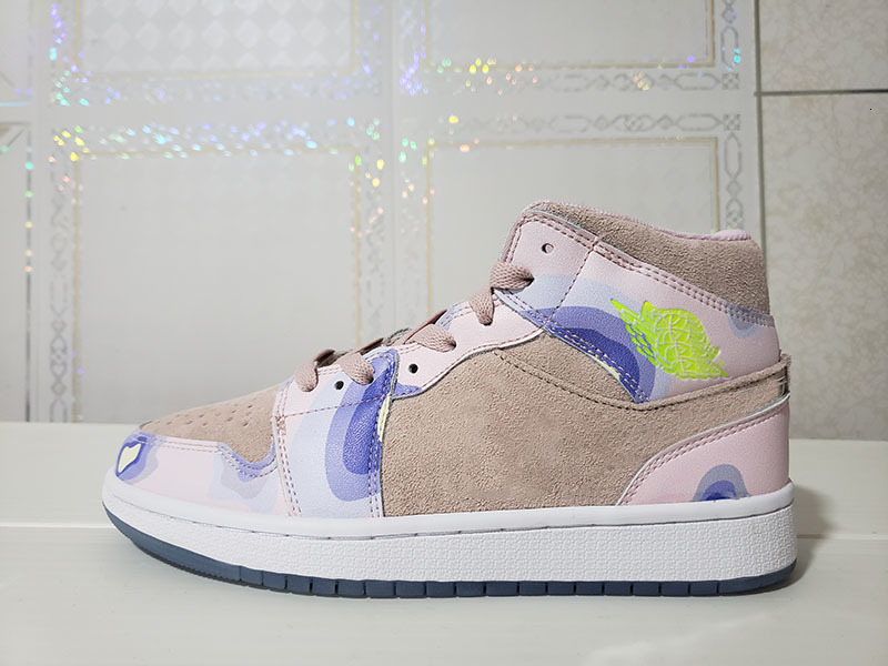 2020 WMNS 1 Mid SE PHerspective Women Shoes CW6008-600 cumulus Washed Coral Light Whistle Ladies Sports Sneaker