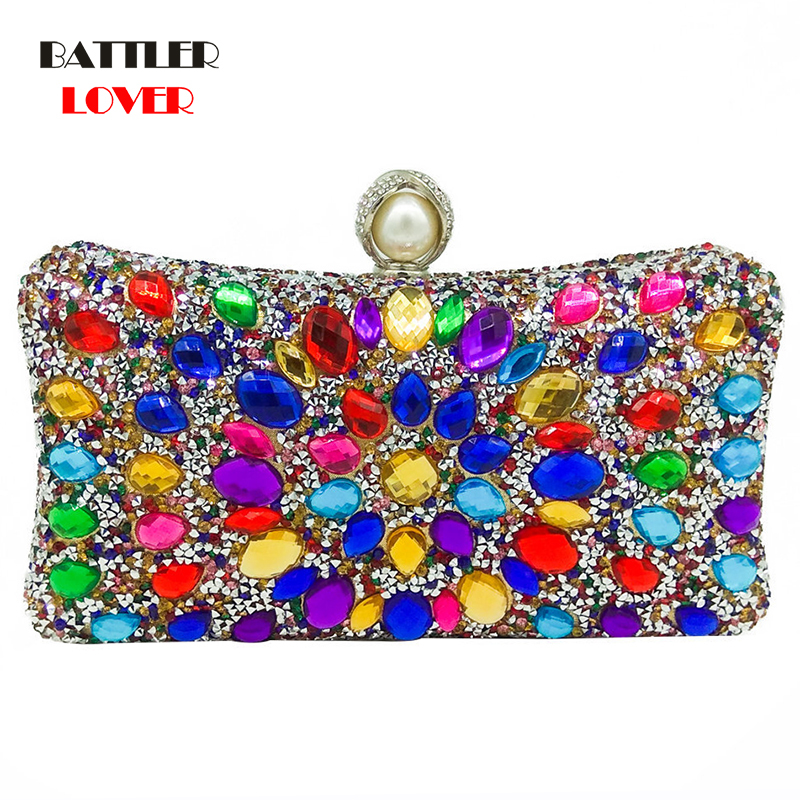 Bags for Women Multi Color Crystal Women Pearl Beaded Black Evening Metal Clutches Bag Wedding Party Prom Bridal Handbag Purse