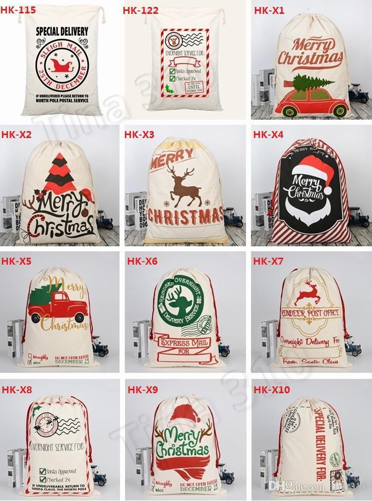 2020 Christmas Large Canvas Monogrammable Santa Claus Drawstring Bag With Reindeers, Monogramable Christmas Gifts Sack Bags 1050