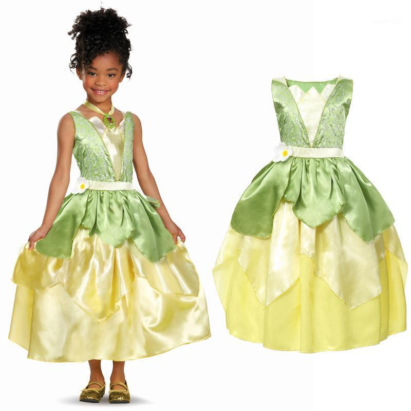 Summer Tiana Fancy Dress Girl Princess and The Frog Costume Children Floral Green Gown Kids Halloween Parth Fancy Cosplay Dress1