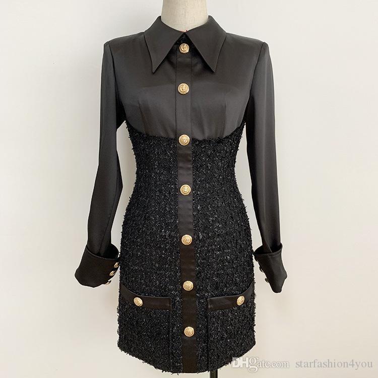 Premium New Style Top Quality Original Design Women's Satin Dress Bright Silk Woolen Slim Pack hip Dress Panelled Dress