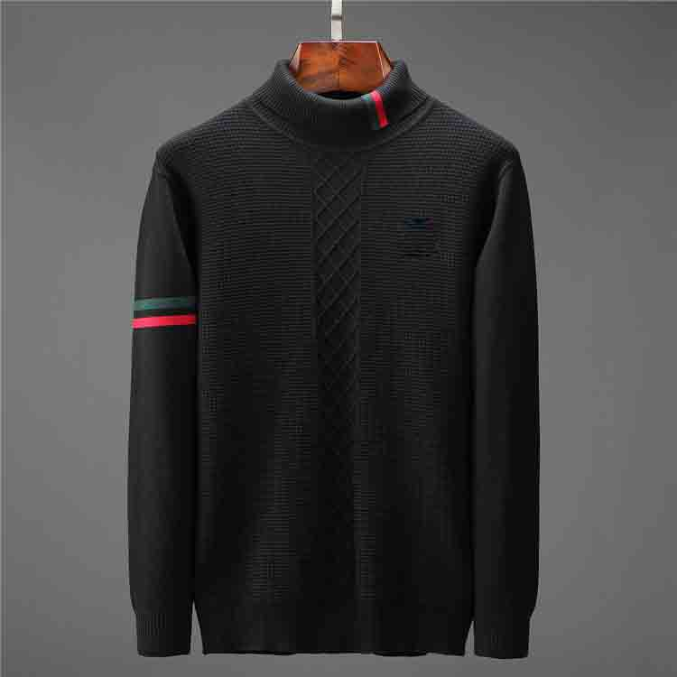 Fashion winter high-quality skin-friendly soft men's sweater embroidery jacket knitted turtleneck men's pullover solid color turtleneck men'