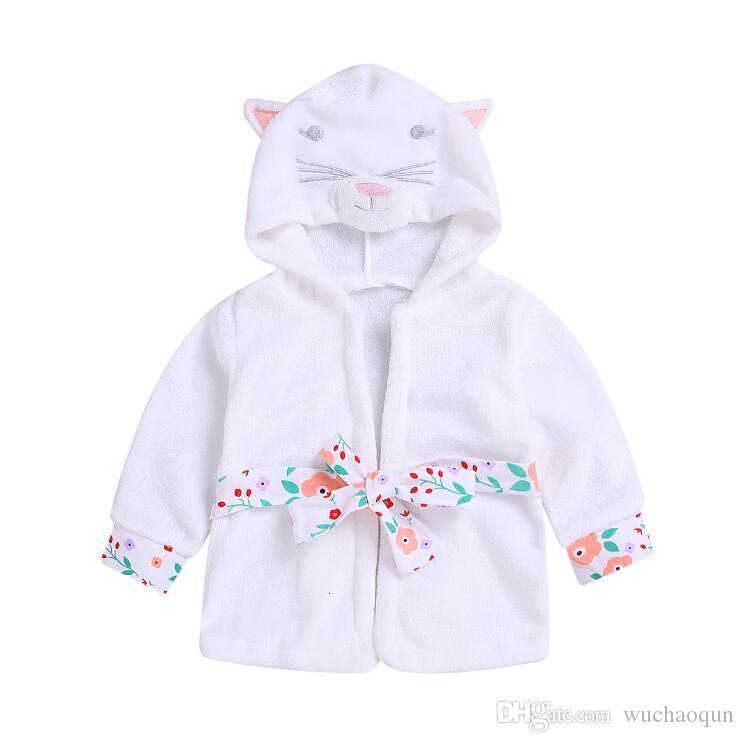2019 kids designer clothes girls New Kids Coral baby girl clothes Velvet Bathrobe Cartoon Thickened Girls Hat Coat kids clothing BY0826