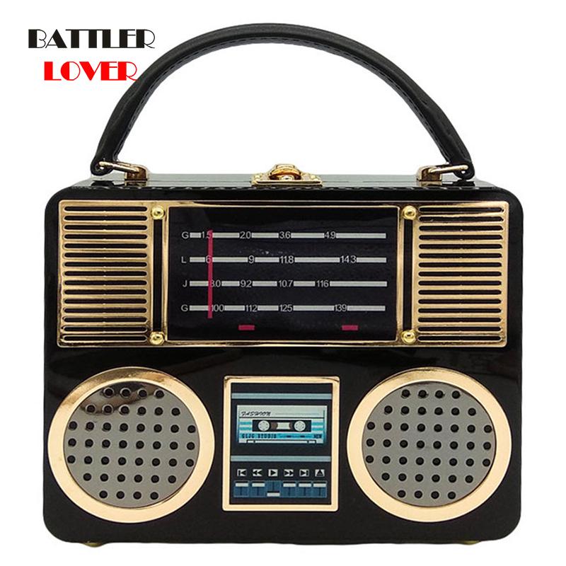 Bags for Women 2020 Vintage Retro Radio Acrylic Box Clutch Evening Handbags Women Totes Handbags Ladies Crossbody Shoulder Bag