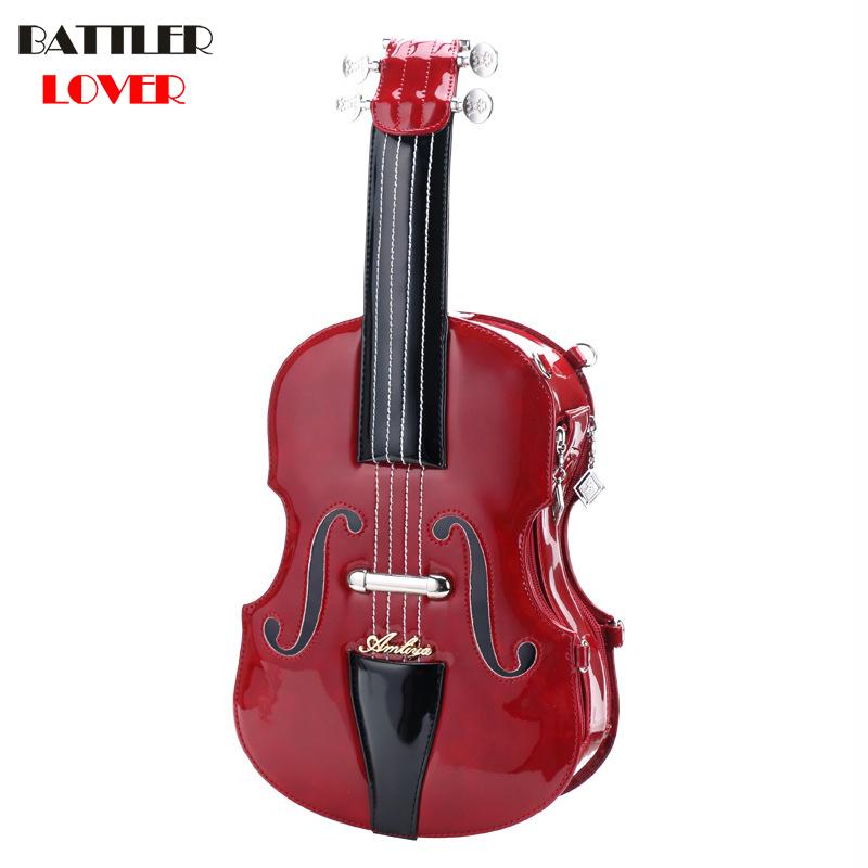 New Handbag Violin Shaped Modeling Package Retro Beaded Chain Packet Femme Shoulder Diagonal Package Womens Crossbody Bag
