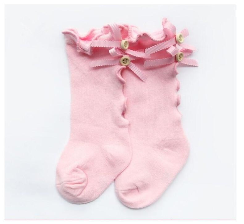 2021 New Kids Socks Toddlers Girls Big Bow Knitted Knee High Long Soft Cotton Lace Socks Baby Ruffle Socks