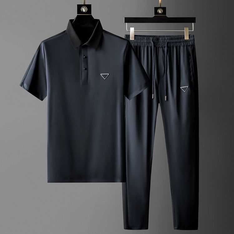 Men 's New Leisure Suit MEN 'S HIGH END Light Luxury Summer Short Sleeve Hooded Slim Fitting T- shirt MEN 'S Two Piece Suit Fash X0124