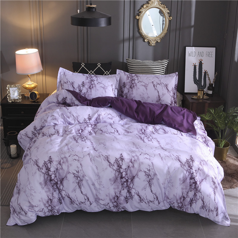 Printed Marble Bedding Set White Black Duvet Cover King Queen Size Quilt Cover Brief Bedclothes Comforter Cover