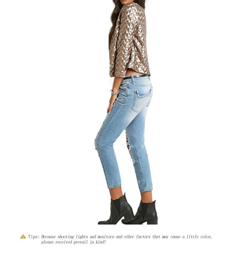 new European and American women golden brown jacket rhombus full sequins jacket wild self-cultivation sleeves short jacket (4)