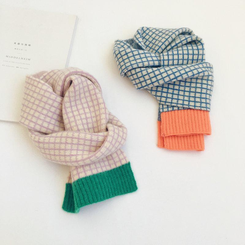 2021 Small check contrast color children wool children's scarf autumn winter new style boys and girls baby warm scarf