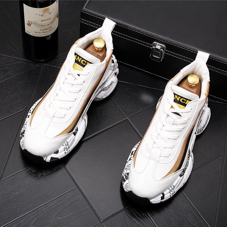 2020 New fashion Men's comfortable lace-up Casual flats shoes Male Designer prom Dress Platform Loafers Shoes Clunky Sneaker
