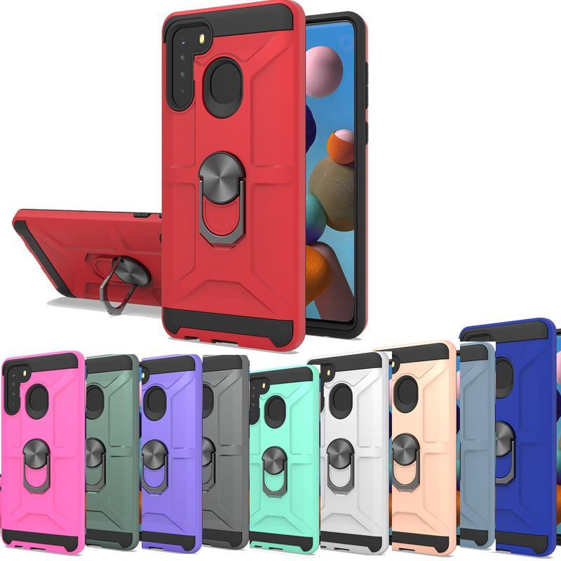 Armor kickstand case For iphone 12 11 pro max x 8 7 6 Revvl 4 Plus Moto E 2020 G Power G9 Play G Stylus G Fast Metal Hybrid Ring phone cover