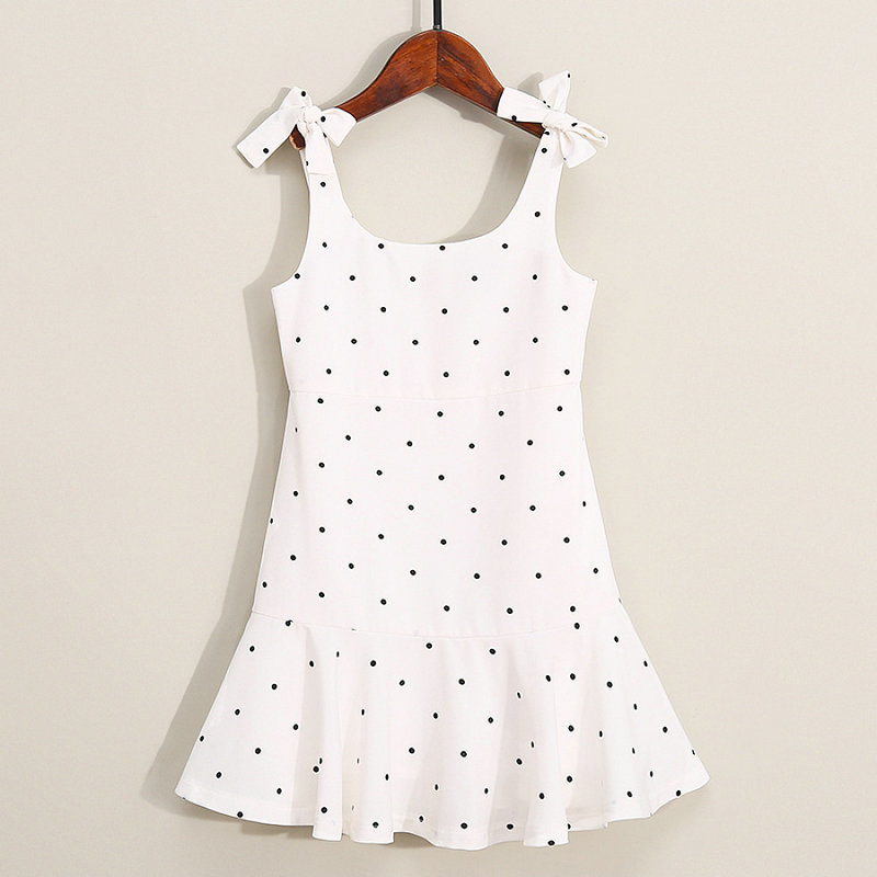 Family Look Matching Clothing Cotton Sleeveless Dot Women Girls Dress Mother Daughter Dress Mom And Daughter Dresses Clothes (1)
