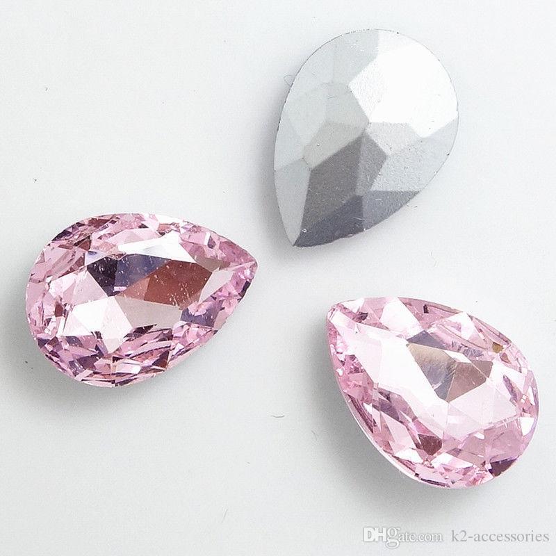 Faceted Crystal Glass rhinestones Silver Teardrop beads
