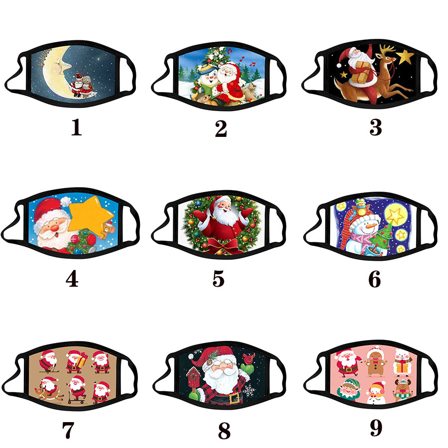 Christmas adult calico mask anti-fog washable cotton masks color Christmas mask cartoon face mask Party Masks fashion design facemasks free