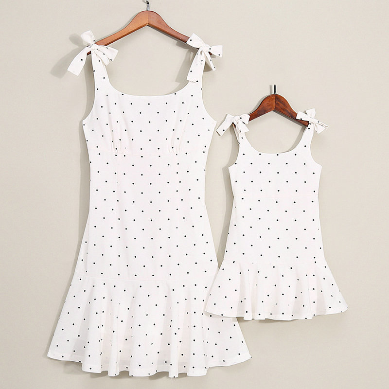 Family Look Matching Clothing Cotton Sleeveless Dot Women Girls Dress Mother Daughter Dress Mom And Daughter Dresses Clothes (4)