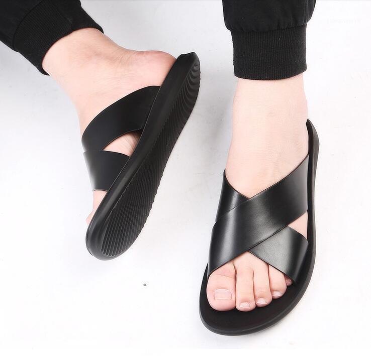 Sandals Men Genuine leather Slippers Summer Brand Soft Comfortable Beach Slippers Men Casual Cross Outdoor Slides 4.81