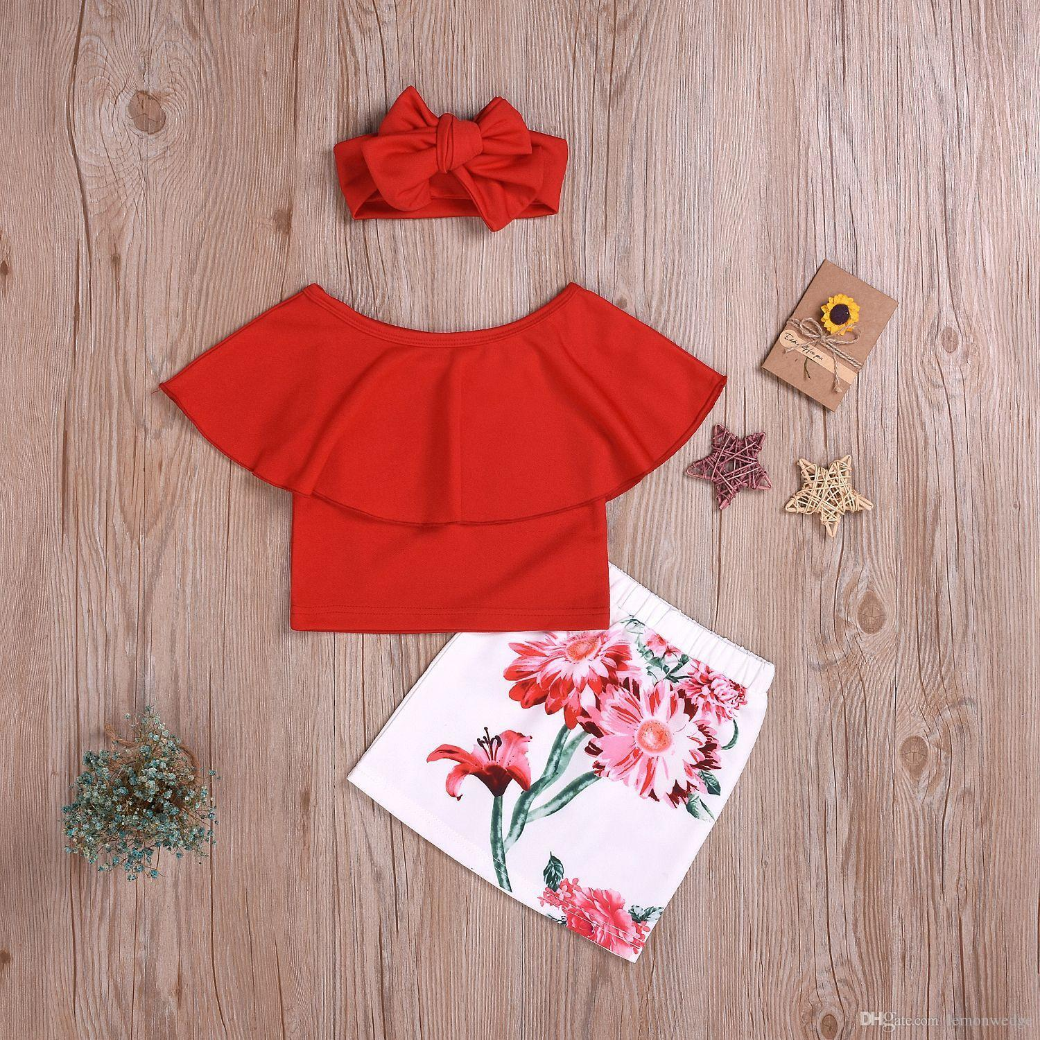 Newborn Toddler Baby Girls clothes print Floral Skirts Headband round neck Top kids Outfit