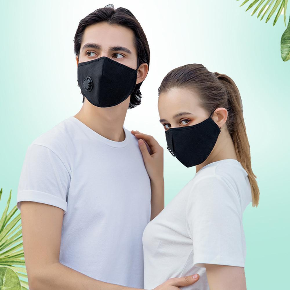 Anti Dust Face Mask With Valve Washable Reusable PM2.5 Breathing Filters Protective Mouth Cotton Masks Respirator Anti With 2 Filter Hot