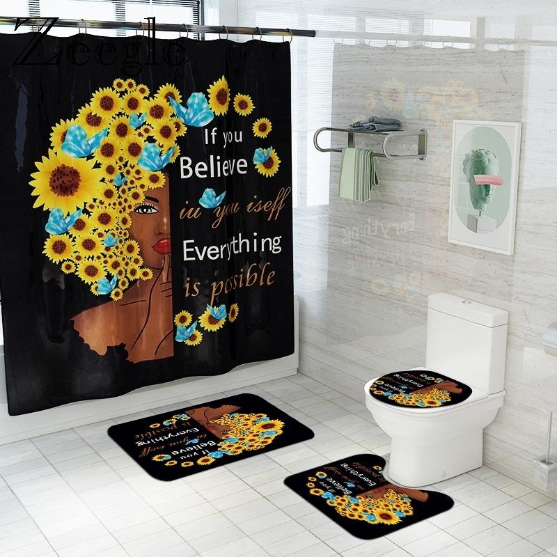 Sunflower Printed Bath Mat and Shower Curtain Set Non Slip Bath Rug Shower Foot Mat Flannel Toilet Cover Mat Bathroom Floor Mat