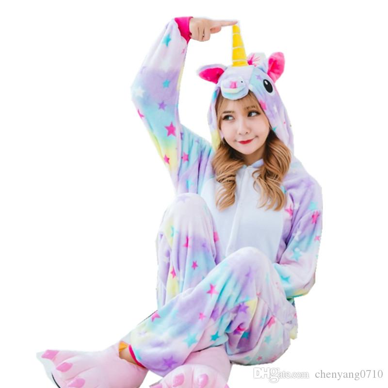 Women`s Cosplay Costumes and Winter Flano Pajamas Star or Rainbow Unicorn Onesies Kigurumi Jumpsuit Hoodies Adults Halloween Party Clothes