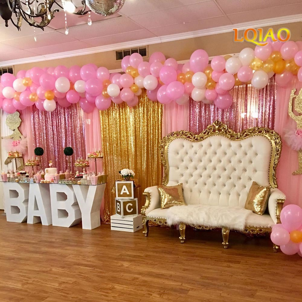 Rose Gold Fuchsia Pink Gold sequin Backdrop 001