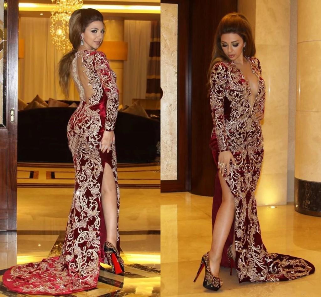 myriam-tarife burgund abendkleider mit goldener stickerei sexy tiefe  v-ausschnitt arabisch dubai türkei high slit ballkleider robe de soiree  al8179