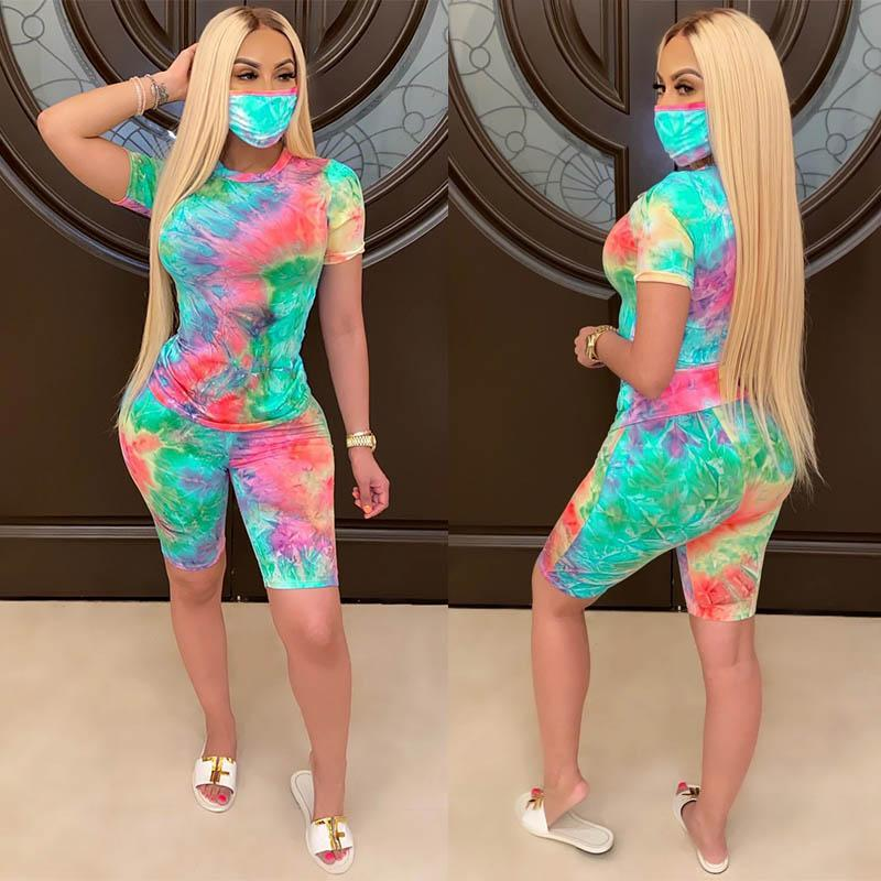Women Outfits sets with Face Mask Summer fashion clothes tie-dye t shirt Biker Shorts tracksuits clubwear sportswear casual clothing