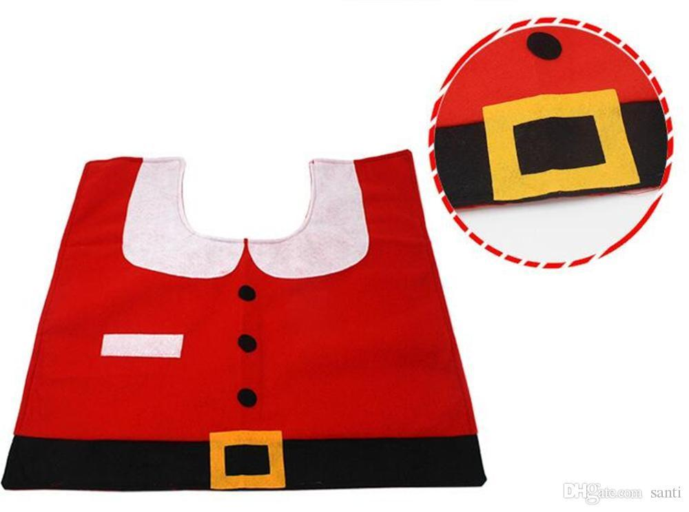 Happy Santa Toilet Seat Cover Rug Toilet Foot Pad Seat Cover Cap Bathroom Set Christmas Decorations