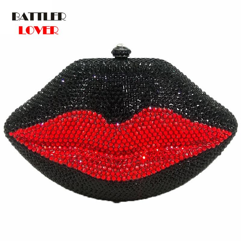 Bags for Women 2020 Black & Red Crystal Lips Evening Clutch Purse Women Wedding Party Cocktail Metal Mini Minaudiere Handbag Bag