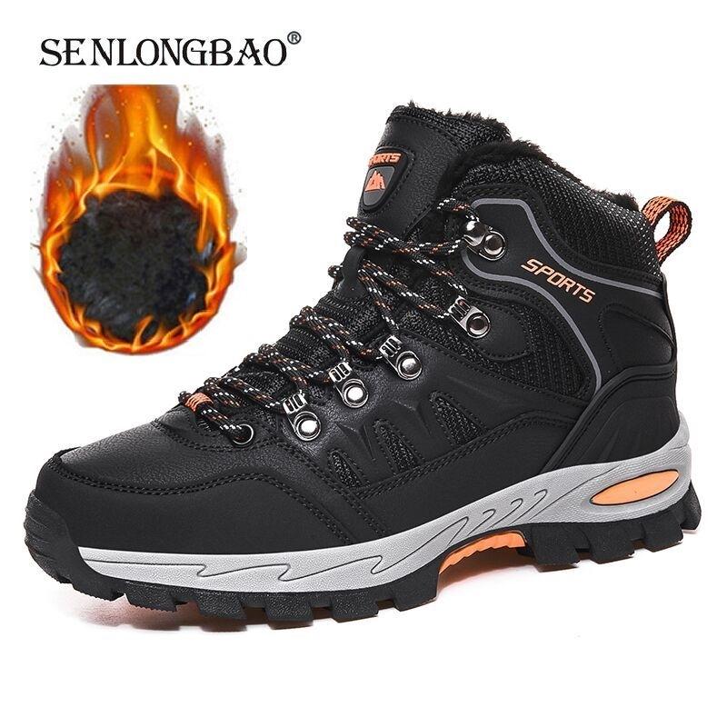 Brand Winter Plush Warm Snow Waterproof Men's Ankle Breathable Handmade Outdoor Men Hiking Boots LJ201028