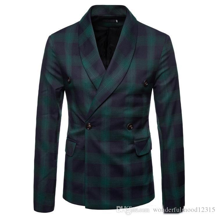 fashion men's casual business plaid check suit personality check Korean suit coat retail wholesale British style