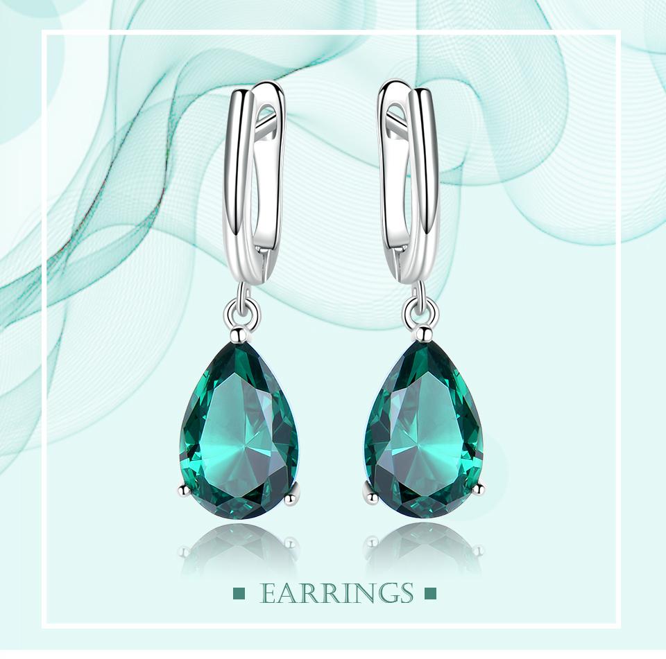 UMCHO Emerald 925 sterling silver earring for women EUJ094E-1-pc (1)