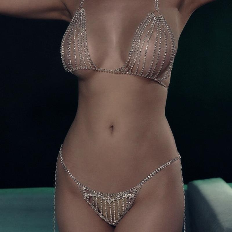 Rhinestone Body Chain Necklace Bikini Bra Chain Top for Women Sexy Crystal Underwear Thong Transparent Panties Body Jewerly Gift T200508