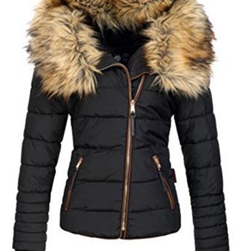 2019 New Parkas Female Women Winter Coat Thickening Cotton Winter Jacket Womens black faux fur Outwear Parkas for Women Winter Y200101