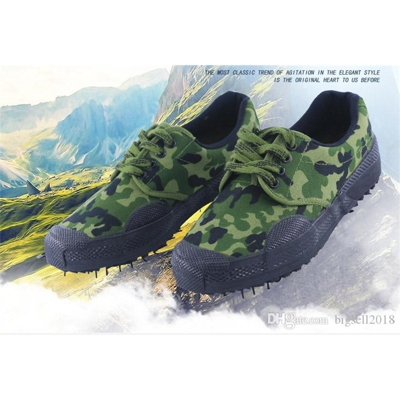 classical cheap durable rubber canvas flat heeled low liberation shoes militry footwear camouflage military training shoes labor shoe U01350