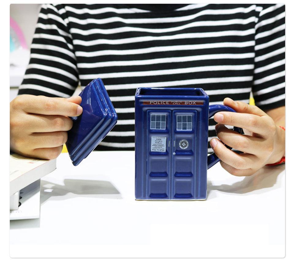 Doctor Who Tardis Police Box Ceramic Mug Cup With Lid Cover For Tea Coffee Mug Funny Creative Gift Christmas Presents Kid Men(10)